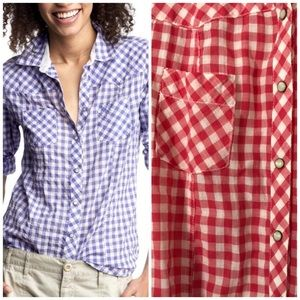 Gap Red Gingham Check Western Pearl Snap Shirt